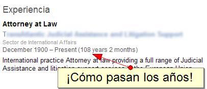Perfil de abogado en LinkedIn