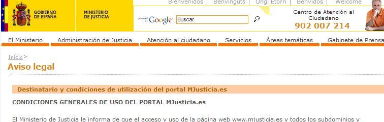 Captura de pantalla del Ministerio de Justicia